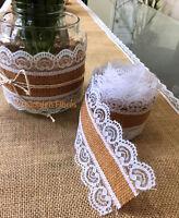 Valentine's Natural Heart Lace Hessian Burlap Jute Rustic Ribbon Vintage Wedding