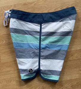 Retro Blue Green Gray Striped Classic Ezekiel Scalloped Surf Board Shorts Sz 36