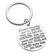 Inspirational Quote Keychain Gift Always Remember You're Braver Than You Believe
