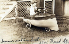 1912 Boy Junior Sailor Rides Pedal Car Speedboat Flag