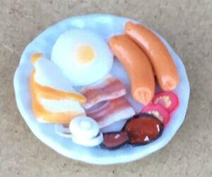 1:12 Maßstab Voll Frittiertes Frühstück Auf Ein 2.5cm Platte Tumdee Puppenhaus