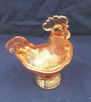 "Vintage Pink / Peach Glass Standing Rooster Covered Candy Dish 8.5"" Tall w/ Mark"