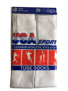 12 Pairs New WHITE Mens Cotton Athletic Sports TUBE CREW Socks 9-15 Made in USA