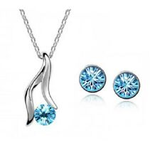 SILVER NECKLACE & EARRING SET IN TURQUOISE **UK SELLER** WEDDING BRIDESMAID GIFT