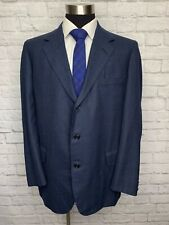 $2495 OXXFORD CLOTHES Mens Navy Plaid Worsted Wool Suit Jacket Sport Coat 43L