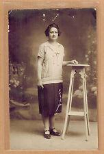 Carte Photo vintage card RPPC femme jupe soulier mode fashion coiffure kh062