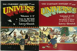 Lot Of 2 The Cartoon History Of The Universe Volumes 1-7 And Volumes 8-13