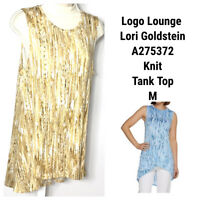 Lori Goldstein Logo Layers Tunic Tank Top Blouse Medium Knit Yellow Sunflower
