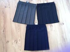 GIRLS SCHOOL BOX PLEATED SKIRT ELASTICATED WAIST GREY/BLACK/NAVY BLUE 2-16 Years