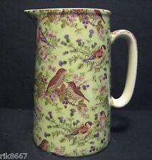 2 Pint Milk Jug Bird Chintz (Green B/G) BY Heron Cross Pottery England
