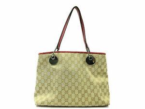 Authentic Gucci GG Canvas Hand Bag 120837 Shoulder Bag Beige Red 84824