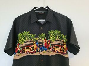 Lowes Size Medium Dark Olive Collared Mens Short Sleeve Button Up Surf Shirt VGC