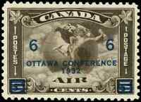 Canada #C4 mint VF OG VLH 1932 Airmail 6c on 5c olive brown C2 Surcharged
