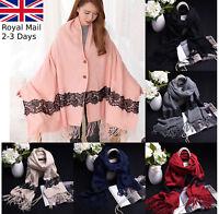 Ladies Women Winter Warm Tartan Poncho Check Neck Shawl Scarf Wrap Stole Lace