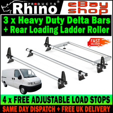 Peugeot Boxer Roof Rack Bars x3 Rhino With Rear Ladder Roller LOW-H1 1995-2006