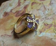 Yellow Gold Plated Stone Amethyst Costume Jewellery