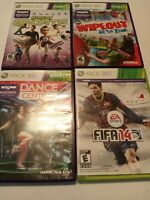 4 Xbox 360 Kinect Games Lot -Kinect Sports, Dance Central,Wipeout, FIFA14 No Man