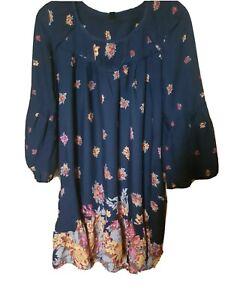 VERO MODA LADIES 3/4 LENGHT  SLEEVE BLACK ORANGE DRESS TUNIC UK 12