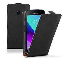 SLIM BLACK Samsung Galaxy Xcover 4 Leather Flip Case Cover  For Mobile Phone
