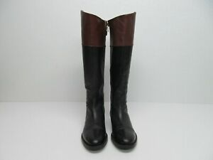 Enzo Angiolini Ellerby Black/Brown Leather Riding Boots size Women's 7M
