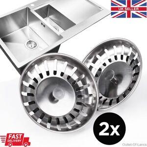 2 x Kitchen Sink Drain Waste Plug Strainer mesh basket sewer basin filter steel