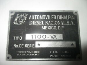 Nameplate Renault Alpine Sign Id Plate A110 A 110 s42 Dinalpin 1100 Mexico