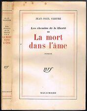La MORT dans l'ÂME Les Chemins de la Liberté de Jean-Paul SARTRE NRF 1961 T. III