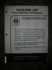 Vintage Original International Harvester Package List Farm Implement Attachments