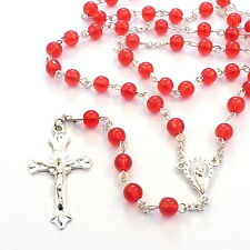 Deep bright red Catholic glass rosary beads Our Lady center 6mm necklace