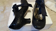 HUSH PUPPIES BLACK NOELLA GLITTERY PATENT LEATHER COURT SHOES SIZE 4 VINTAGE