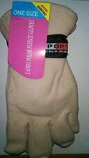 One Size Winter Essentials Ladies Polar Fleece Gloves in Ecru