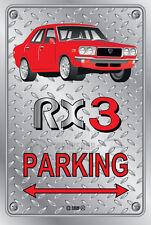 Parking Sign Metal MazdA RX3 4-door-01 - Checkerplate Look