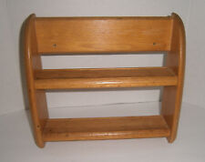 Solid OAK Wooden Spice Rack Wall Mount / Free Standing 2 Shelf Spice Organizer