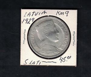 1929 Latvia 5 lati  Coin  KM 9