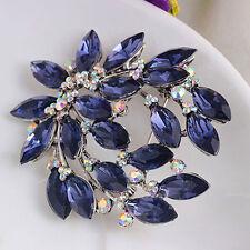 Women Practical Sapphire Blue Flower Brooch Pin Zircon Glass Alloy Party Jewelry