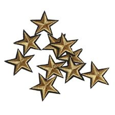 10 Pcs Gold Star Embroidered Badges Iron on Patches Clothing Applique Sticker Gold