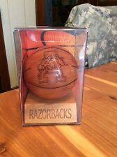 ARKANSAS RAZORBACKS COLLEGE WOODEN BASKETBALL ON STAND GRID WORKS INC