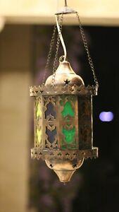 ottoman Moroccan Brass copper and Glass Lantern Islamic Mosque Hanging Ramadan