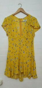 SHAREEN Collections Designer Label Women Yellow Floral Jumpsuit Playsuit Size 10