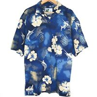 Afico Bluewater Hawaiian Mens Button Shirt Size L Blue Marlin Floral Made In USA