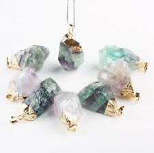 1PC Natural Fluorite Gemstone Irregular Charms Pendant Bead Jewelry Fit Necklace
