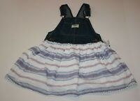 New OshKosh Girls Jumper Dress Overalls Soft Print Skirt Pom Pom NWT 2T 3T 4T 5T