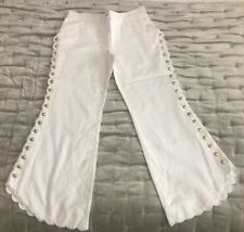 Chole Vintage White Scolp Gold Button Pants