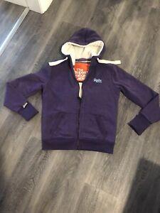 Women's SUPERDRY Orange Label Sherpa Purple Zip Up Hoodie Fur Lined - Size L (10