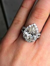 & Accented 2.21Ct Cz Halo Ring Breathtaking 9.35Ct Pear Cut Clear Cuic Zirconia
