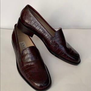 Enzo Angiolini Lafayette Maroon  Croc Embossed Leather Loafers size US 6.5