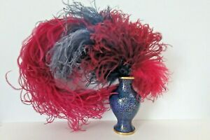 Vintage Feathers Ostrich Plume w/ Hat Clip Millinery Reenactments Period Costume
