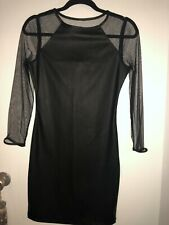 Topshop Black Faux Leather And Mesh Dress Size 10