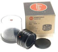 LEICA SUMMICRON 1:2/50mm LEITZ SLR FILM CAMERA LENS f=50mm BOX USED CAPS 3 CAM