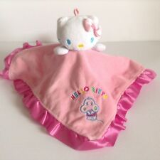 Hello Kitty Pink Security Blanket Sanrio Lovey Embroidery Ruffle Satin Binding